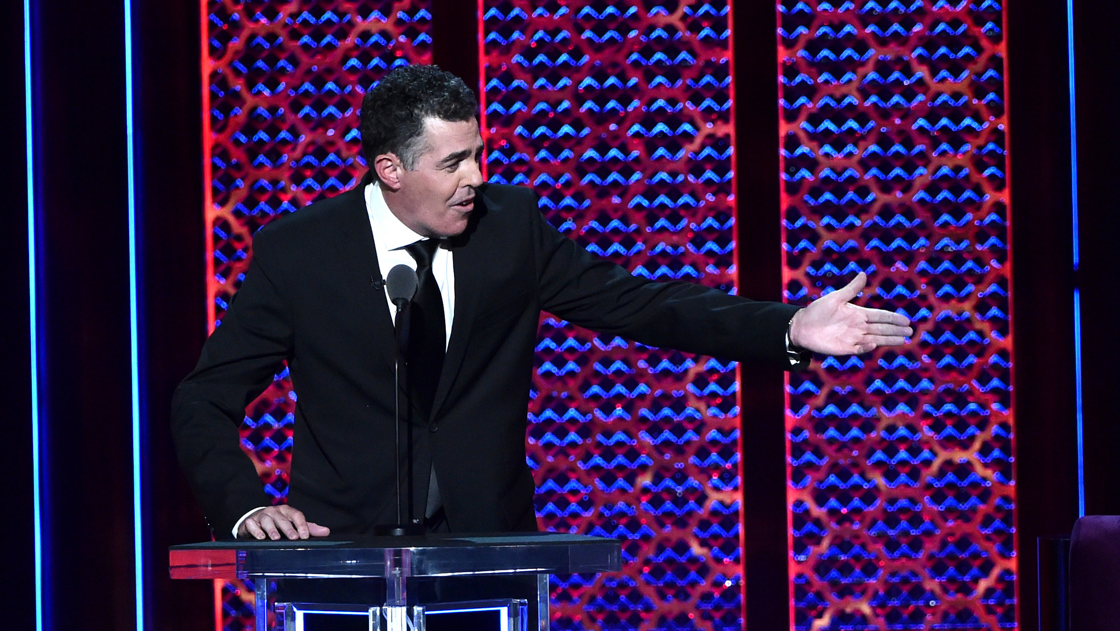 Adam Carolla roasts Alec Baldwin onstage during the Comedy Central Roast of Alec Baldwin at Saban Theatre on September 07, 2019 in Beverly Hills, California. (Photo by Alberto E. Rodriguez/Getty Images for Comedy Central)