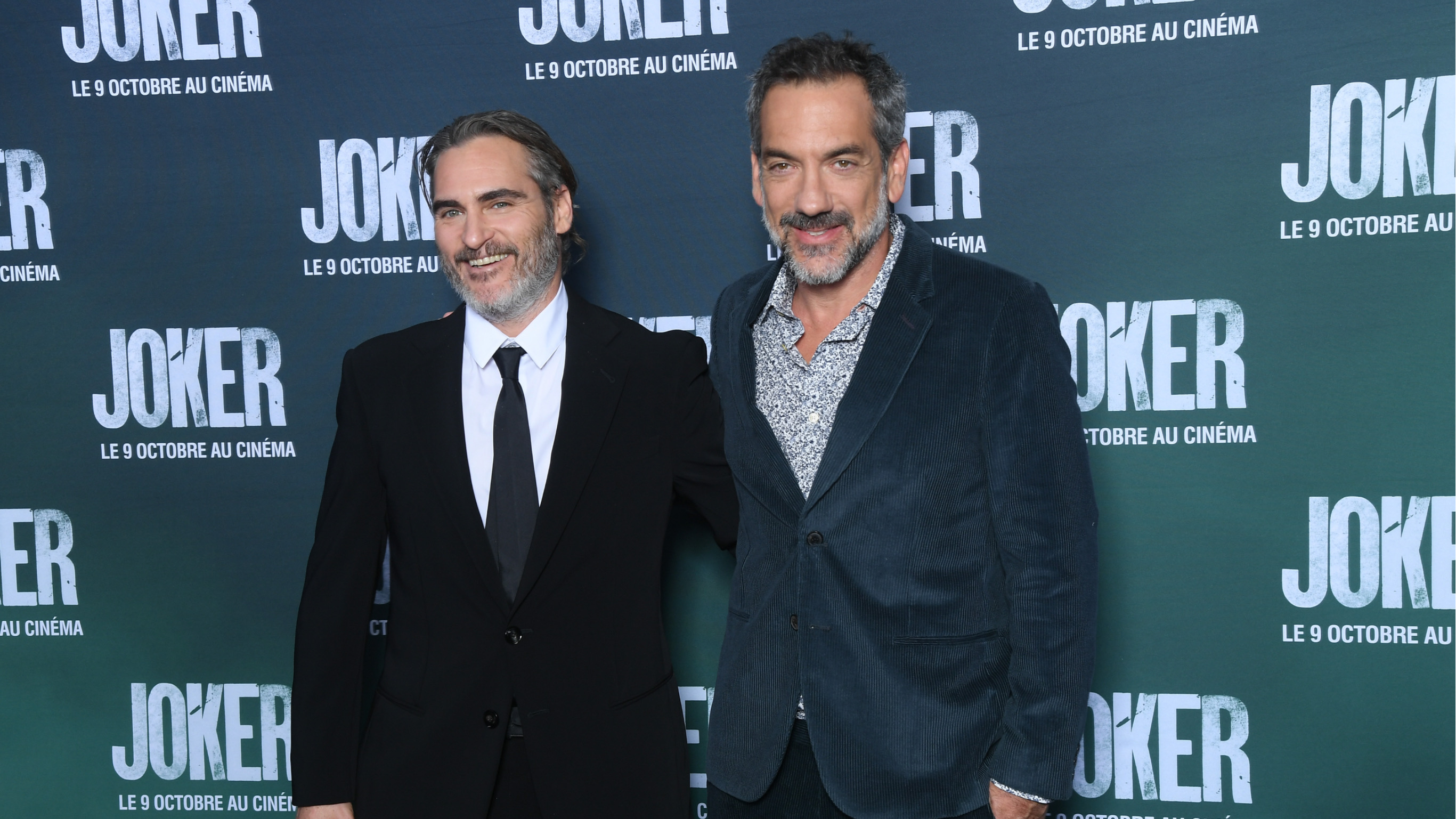 "Actor Joaquin Phoenix and Director Todd Phillips attend the ""Joker"" Premiere at cinema UGC Normandie son September 23, 2019 in Paris, France."
