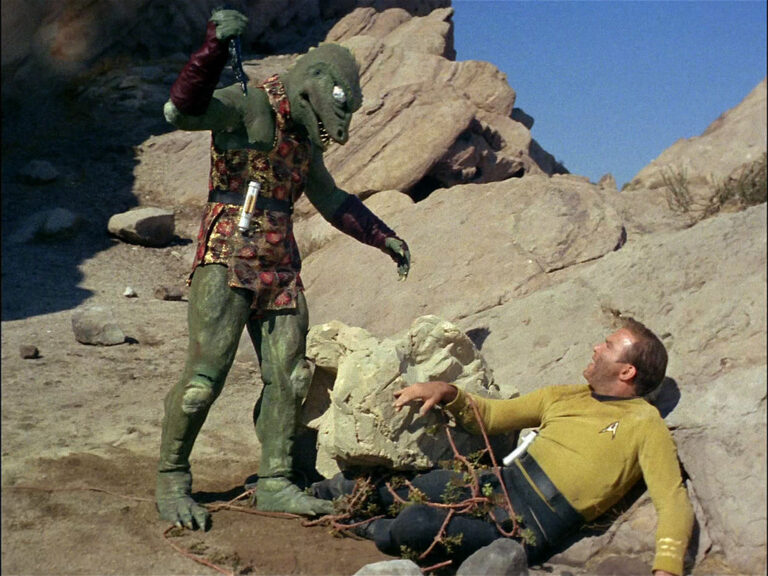 """STAR TREK William Shatner as James T. Kirk fighting the Gorn in """"Arena"""". Original air date January 19, 1967, season 1, episode 19. Image is a screen grab. (Photo by CBS via Getty Images)"""