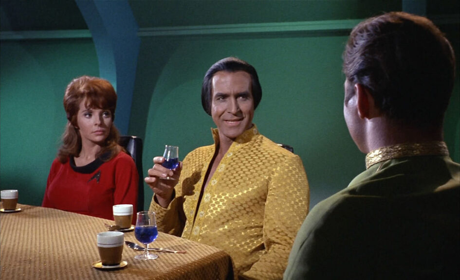 """Madlyn Rhue as Lt. Maria McGivers (the ship's historian), Ricardo Montalban as Khan Noonien Singh (a genetically engineered human from the 20th century) and William Shatner as Captain James T. Kirk in the Star Trek: The Original Series episode, """"Space Seed."""" Original air date February 16, 1967. Image is a frame grab. (Photo by CBS via Getty Images)"""