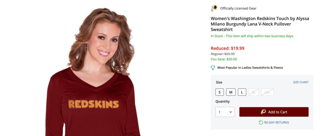 Alyssa Milano in a Redskins shirt