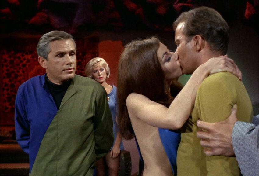 """Michael Strong as Dr. Roger Korby, Majel Barrett as Nurse Christine Chapel, Sherry Jackson as Andrea and William Shatner as Captain James T. Kirk in the STAR TREK: THE ORIGINAL SERIES episode, """"What Are Little Girls Made Of?"""" Season 1, episode 7. Original air date, October 20, 1966. Image is a frame grab. (Photo by CBS via Getty Images)"""